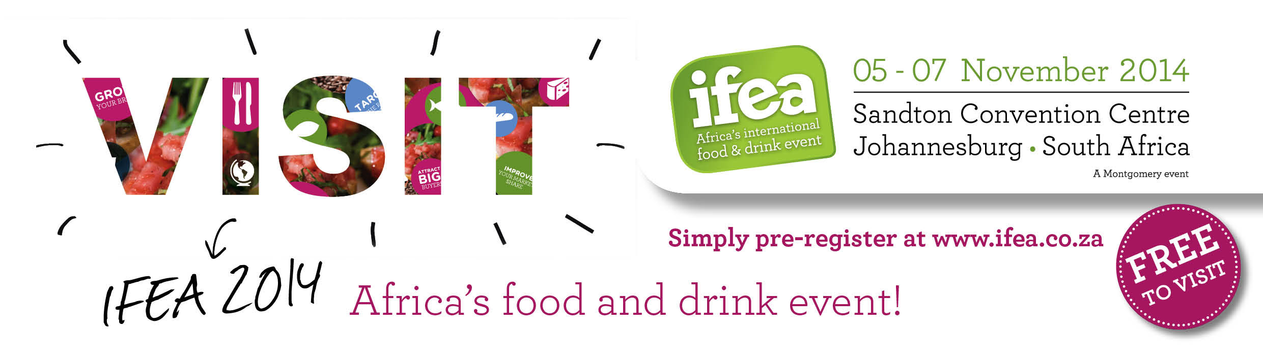 IFEA 2014 banner. Visitors enter free of charge.